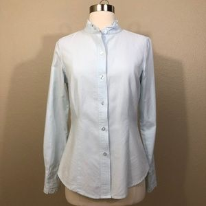 Victoria's Secret S Oxford Ruffle Collar Shirt